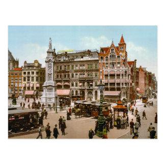 Cartão Postal O vintage Amsterdão, bondes nos DOM Plat