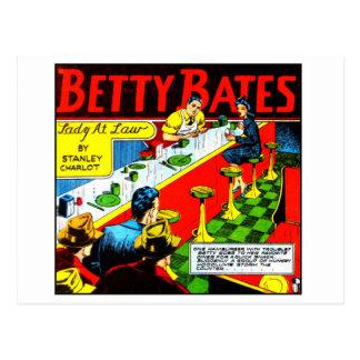 Cartão Postal O vintage Betty cómica do kitsch reduz a senhora