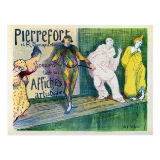 Cartão Postal O vintage clowns anúncio francês da galeria de