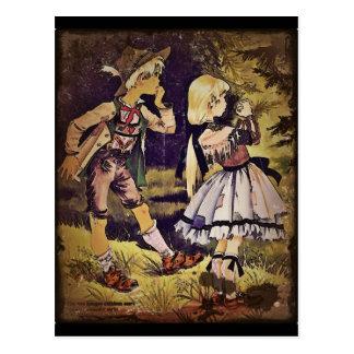 Cartão Postal O vintage Hansel e Gretel considera a casa de