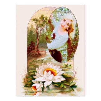Cartão Postal O vintage Lilly acolchoa o quadro da flor para