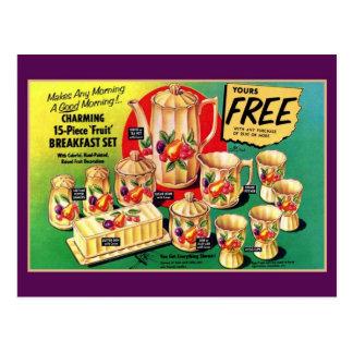 Cartão Postal O vintage livra anúncio ajustado do pequeno almoço