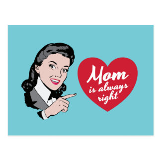 """Cartão Postal O vintage """"mamã é sempre"""" ilustração direita"""