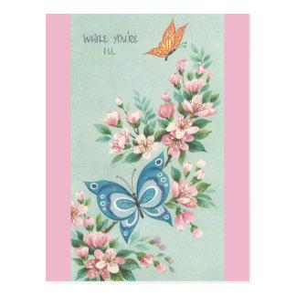 Cartão Postal O vintage obtem bem com borboletas