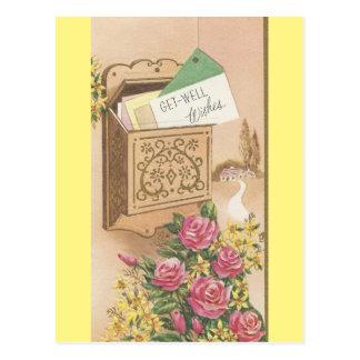Cartão Postal O vintage obtem bem com caixa postal