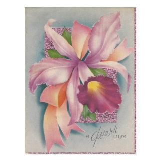 Cartão Postal O vintage obtem bem com orquídea