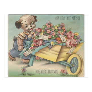 Cartão Postal O vintage obtem o cão bom com carrinho de mão