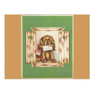 Cartão Postal O vintage obtem o cão bom com letra