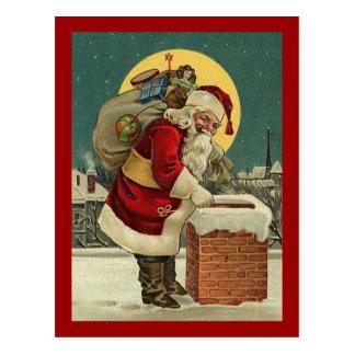 Cartão Postal O vintage Papai Noel brinca o Natal