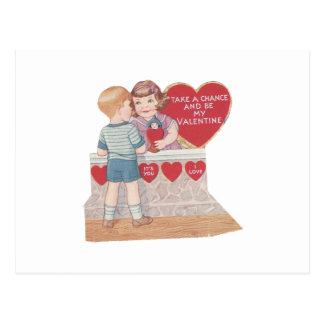 """Cartão Postal O vintage """"toma namorados de uma possibilidade"""""""
