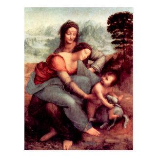 Cartão Postal O Virgin e a criança com St Anne