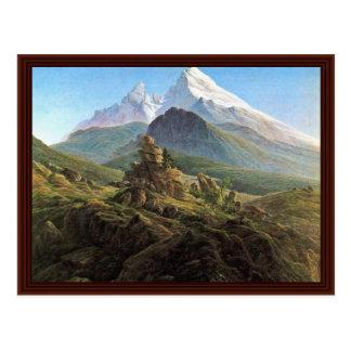 Cartão Postal O Watzmann por Friedrich Caspar David