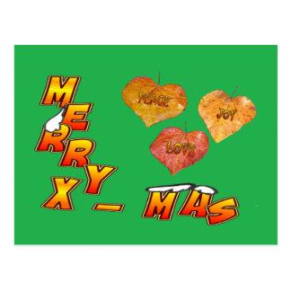Cartão Postal O Xmas da feliz & 3 folhas dadas forma coração