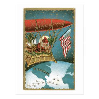 Cartão Postal O zepelim do papai noel - patriotismo americano
