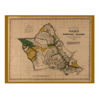 Cartão Postal Oahu, 1881, mapa de Havaí do vintage