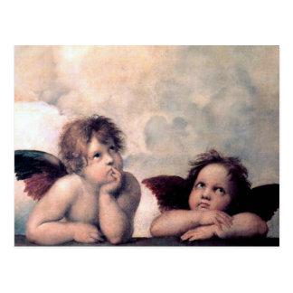 Cartão Postal Obra-prima italiana doce do renascimento dos anjos