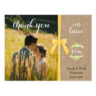 Cartão Postal Obrigado à moda do casamento do verão você