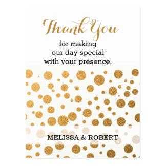 Cartão Postal Obrigado à moda do casamento dos confetes do ouro