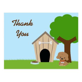 Cartão Postal Obrigado adorável bonito da casa do cachorrinho