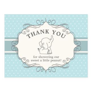 Cartão Postal Obrigado adorável do chá de fraldas do elefante |
