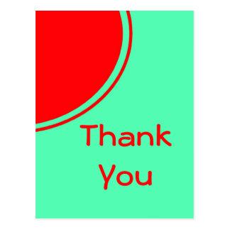Cartão Postal Obrigado alaranjado de turquesa você
