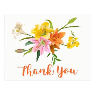 Cartão Postal Obrigado alaranjado floral você lírio floresce o