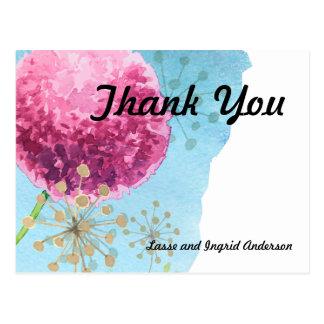Cartão Postal Obrigado Allium da aguarela floral