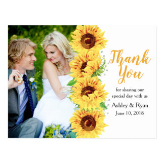 Cartão Postal Obrigado amarelo do casamento da foto do girassol