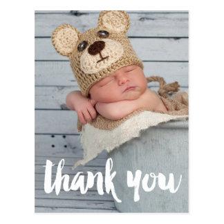 Cartão Postal Obrigado anúncio do nascimento do bebê da foto