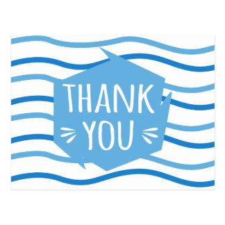 Cartão Postal Obrigado azul & branco abstrato das listras você -