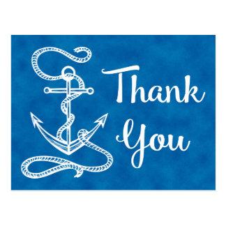 Cartão Postal Obrigado azul da aguarela você âncora náutica do