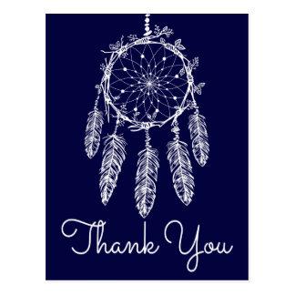Cartão Postal Obrigado azul de Boho você sonha o nativo