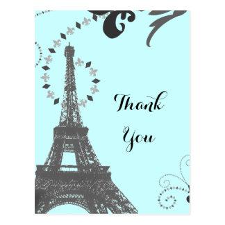 Cartão Postal obrigado azul de Paris do vintage da torre Eiffel