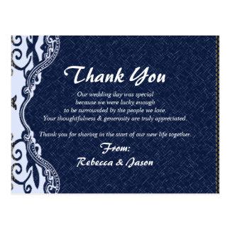 Cartão Postal obrigado azul do casamento do país do laço da