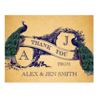 Cartão Postal Obrigado azul do casamento vintage dos pavões você