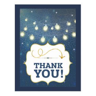 Cartão Postal Obrigado azul do ouro da galáxia da luz das