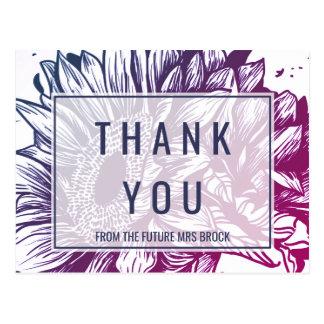 Cartão Postal Obrigado azul e roxo dos girassóis de Ombre você