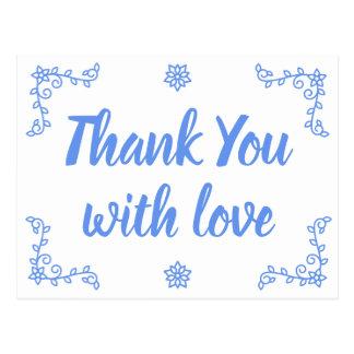 Cartão Postal Obrigado azul floral do Cornflower você floresce o