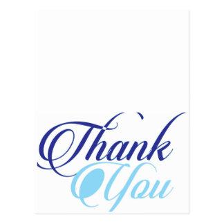 Cartão Postal Obrigado azul você script a tipografia