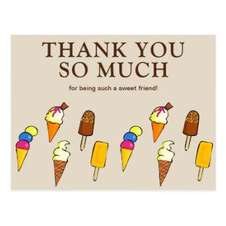 Cartão Postal Obrigado bege dos sorvetes coloridos bonitos você