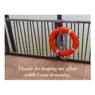 Cartão Postal Obrigado, bóia de vida, gratitude