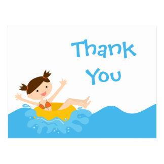 Cartão Postal Obrigado bonito da festa na piscina da menina do