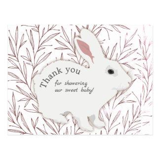 Cartão Postal Obrigado botânico do chá de fraldas do coelho das