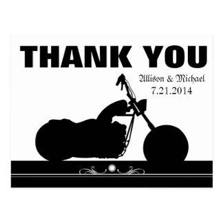 Cartão Postal Obrigado branco preto da silhueta do motociclista