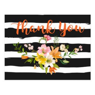 Cartão Postal Obrigado branco preto floral das listras você