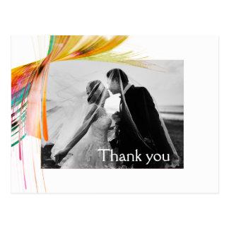 Cartão Postal Obrigado brilhante você casamento da escova da