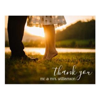 Cartão Postal obrigado chique do casamento do roteiro você