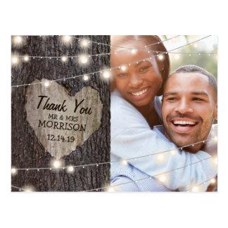 Cartão Postal Obrigado cinzelado do casamento da árvore do