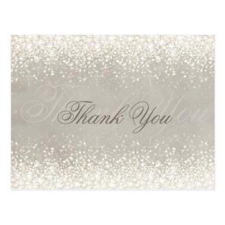 Cartão Postal Obrigado cinzento do brilho claro cintilante você