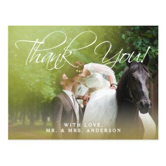 Cartão Postal Obrigado clássico do casamento da foto do roteiro